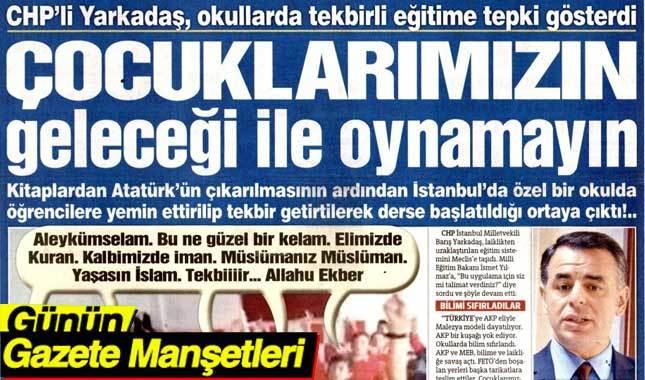 21 Eylül 2017 Gazete Manşetleri