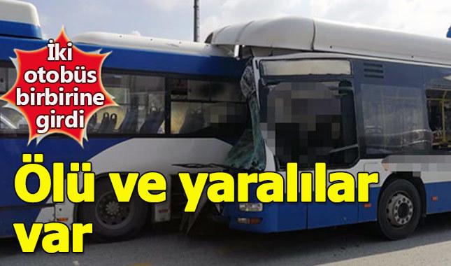 Ankara'da feci kaza iki otobüs çarpıştı