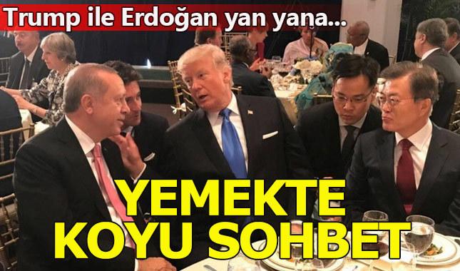 Cumhurbaşkanı Erdoğan ile Trump yemekte sohbet etti