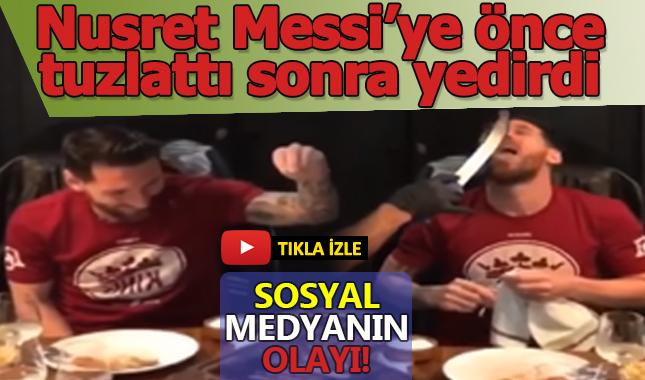 Et kralı Nusret Messi'ye önce tuzlattı sonra kendi eliyle yedirdi