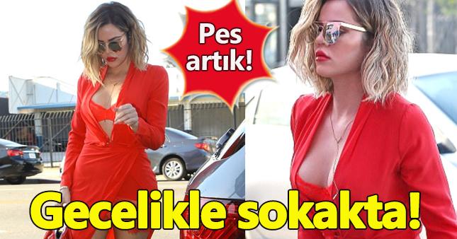 Khole Kardashian gecelikle sokağa çıktı