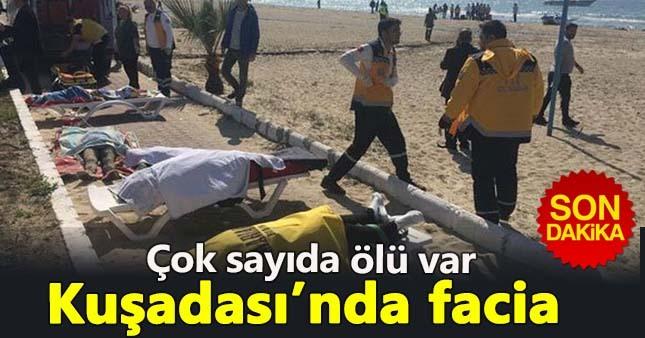 Kuşadası'nda mülteci botu sulara gömüldü