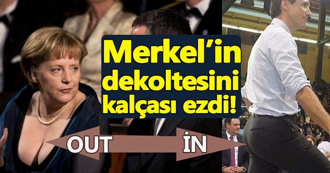 Merkel'in gögüs dekoltesi, Trudeau'nun kalçasına yenik düştü