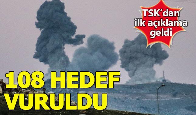 """TSK'dan Afrin açıklaması: """"108 hedef vuruldu"""""""