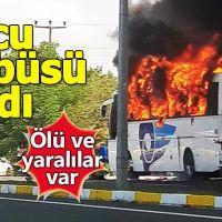 Balıkesir'de yolcu otobüsü yandı