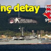 Çanakkale Boğazı'ndan geçen Rus savaş gemisinde ilginç görüntü! Tek tek sıraya dizildiler