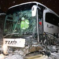 Erzincan'da yolcu otobüsü kaza yaptı! 17 yaralı