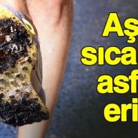 Fethiye'de sıcaktan asfalt eridi