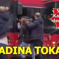 Halk otobüsü şoförü ile 2 kadının yol verme kavgası