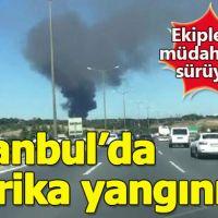Kağıthane'de korkutan fabrika yangını