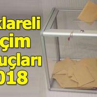 Kırklareli seçim sonuçları 2018 - 24 Haziran oy oranları