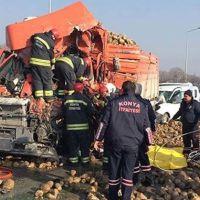 Konya'da sis nedeniyle zincirleme kaza