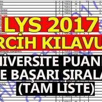 LYS tercih kılavuzu tam lise - ÖSYM 2017 üniversite taban puanı ve başarı sıralaması