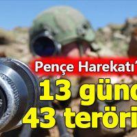 Pençe Harekatı'nın 13. gününde 43 terörist etkisiz halde