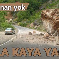 Yağmur yağdı kayalar yol düştü