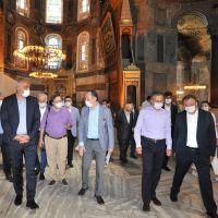 Kültür ve Turizm Bakanı Ersoy ile Diyanet İşleri Başkanı Erbaş, Ayasofya Camisi'nde incelemelerde bulundu