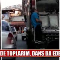 İzmir'de müzik dinleyerek coşan temizlik görevlisi