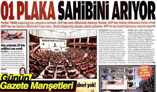 14 Kasım 2017 gazete manşetleri oku - Hürriyet Sabah Milliyet Sözcü Habertürk Vatan Cumhuriyet
