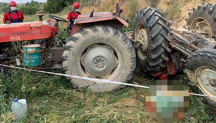 15 yaşındaki çocuğun kullandığı traktör devrildi