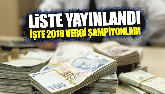 2018 yılı vergi rekortmenleri listesi açıklandı