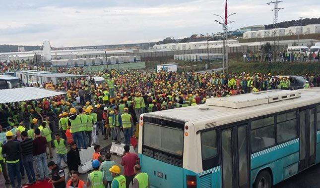 3. havalimanı inşaatında işçilere gaz bombalı müdahale
