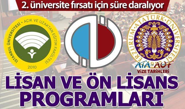 Açıköğretim 2. üniversite bölümleri 4 (lisans) 2 yıllık (ön lisans) programlar - Anadolu Üniversitesi - AUZEF - ATA AÖF