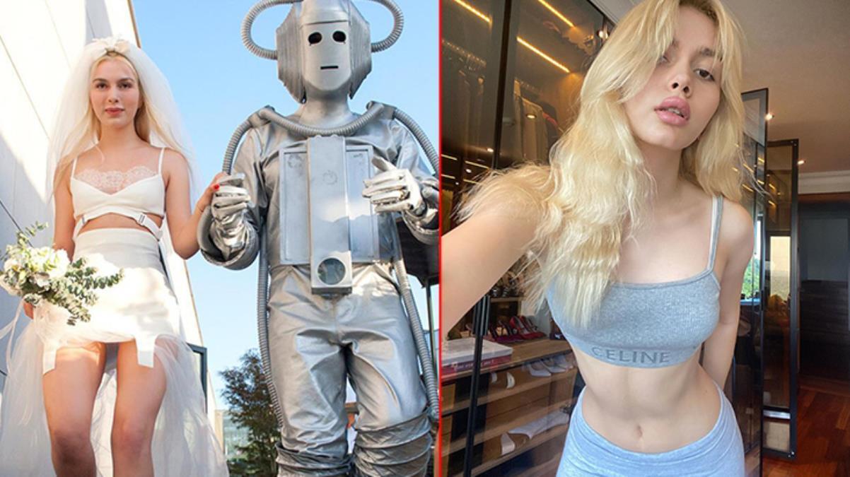 Aleyna bu kez ayı yerine robotla kamera karşısına geçti...