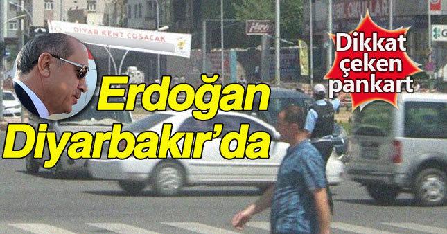 """Diyarbakır'da  Erdoğan'a """"Başkan""""lı pankart"""