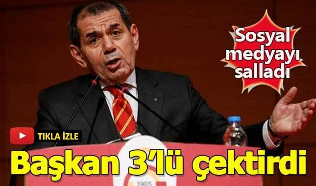 Dursun Özbek genel kurul konuşması sonrası üçlü çektirdi