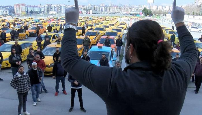 İşleri azalan taksiciler eylem yaptı