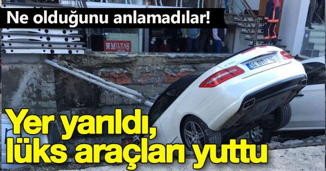 İstanbul Merter'de yol göçtü