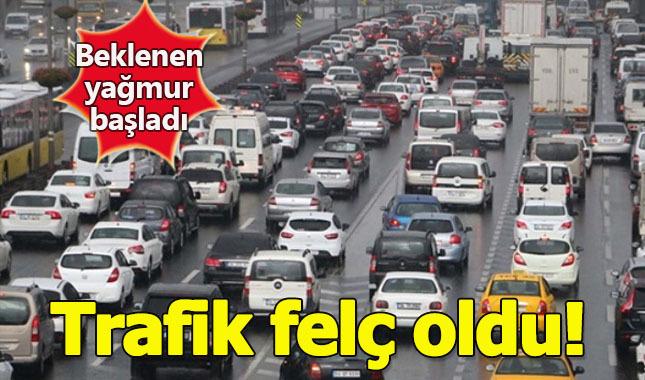 İstanbul'da beklenen yağmur başladı! Trafik durma noktasına geldi