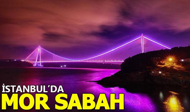 İstanbul'un sembol yapıları mor ışıkla aydınlatıldı