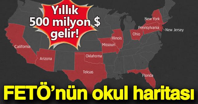 İşte FETÖ'nün ABD'deki okul haritası