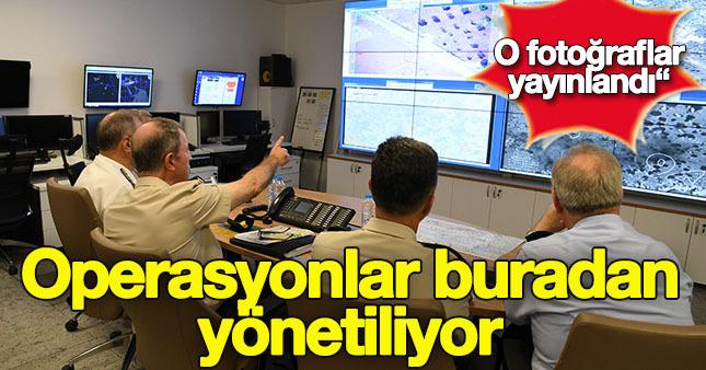 Komutanlar operasyonları merkezden takip ediyor