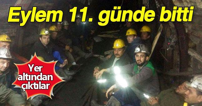 Madencilerin eylemleri 11. günde bitti