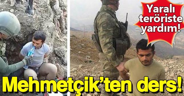 Mehmetçik'ten yaralı ele geçirilen teröriste yardım eli