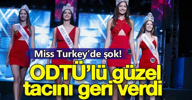 Miss Turkey güzeli tacını geri verdi