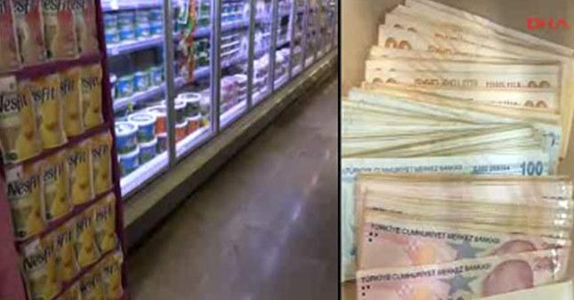 Süpermarkette 13 bin lira kaybetti!