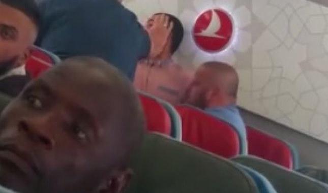 THY uçağında tekme tokat kavga