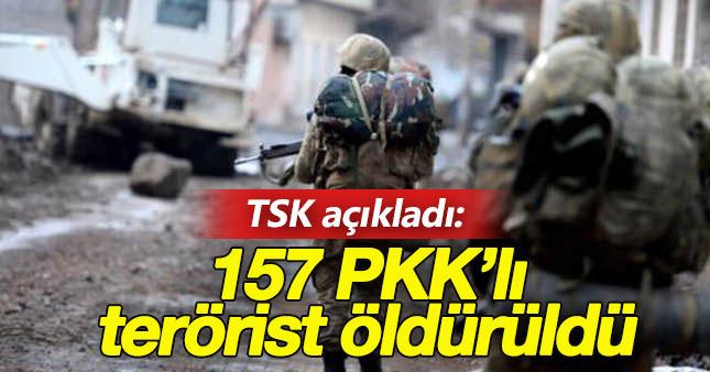 TSK: Çukurca'da 157 PKK'lı terörist etkisiz hale getirildi