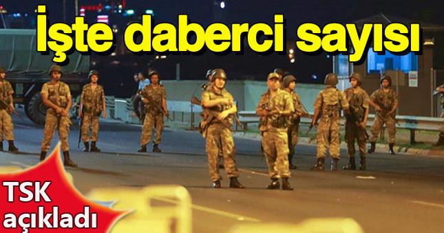 TSK darbeci askerlerin sayısını açıkladı