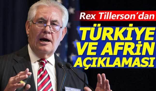 Tillerson: Türkiye'nin güvenlik endişesinin farkındayız