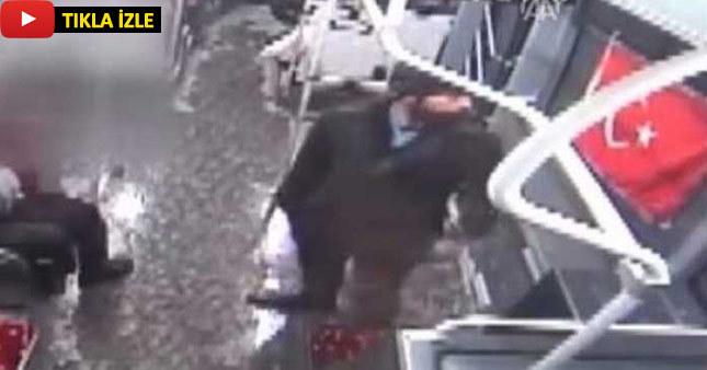 Türk bayrağına saldırı kamerada