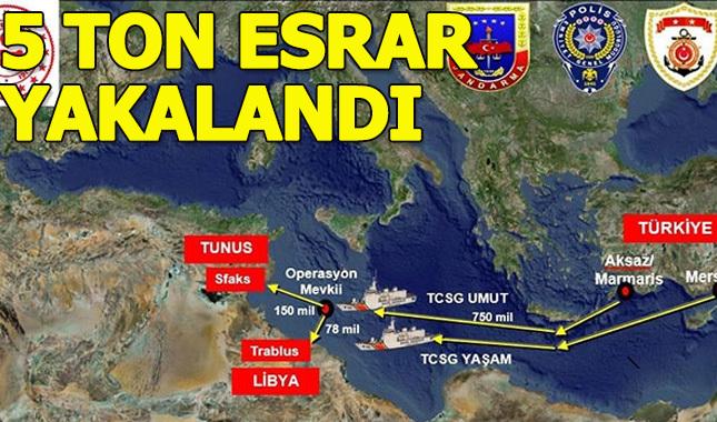 Uluslararası sularda 5 ton esrar yakalandı