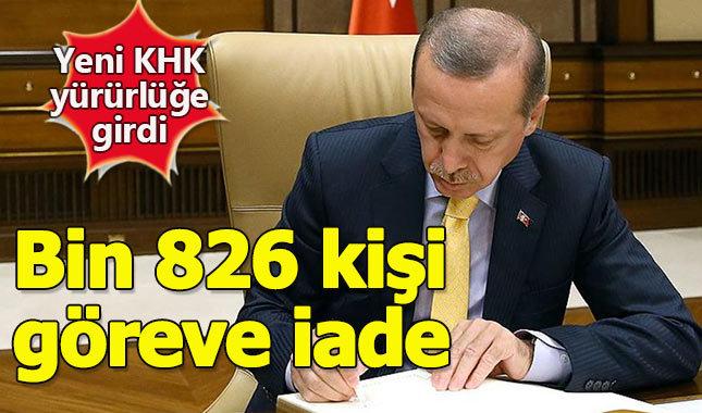 Yeni KHK ile bin 823 kişi görevine iade edildi