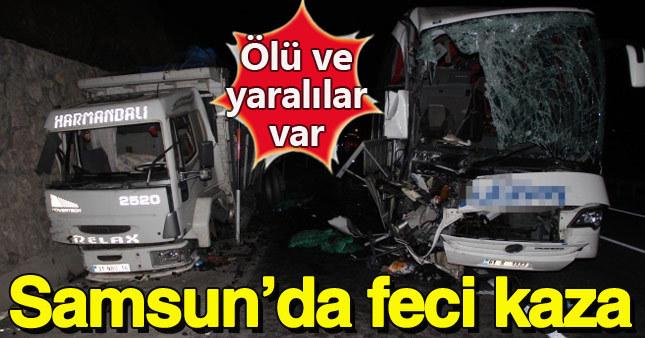 Yolcu otobüsü ve kamyon çarpıştı: 1 ölü 39 yaralı
