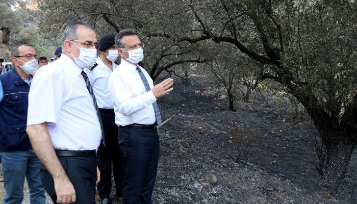 Aydın Valisi Aksoy, yanan tarım arazilerini inceledi