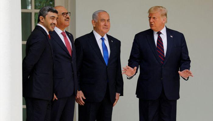 """İsrail ile Birleşik Arap Emirlikleri ve Bahreyn arasında varılan """"ilişkilerin normalleştirilmesine"""" yönelik anlaşmalar, Beyaz Saray'da imzalandı."""