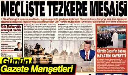 23 Eylül 2017 Gazete Manşetleri